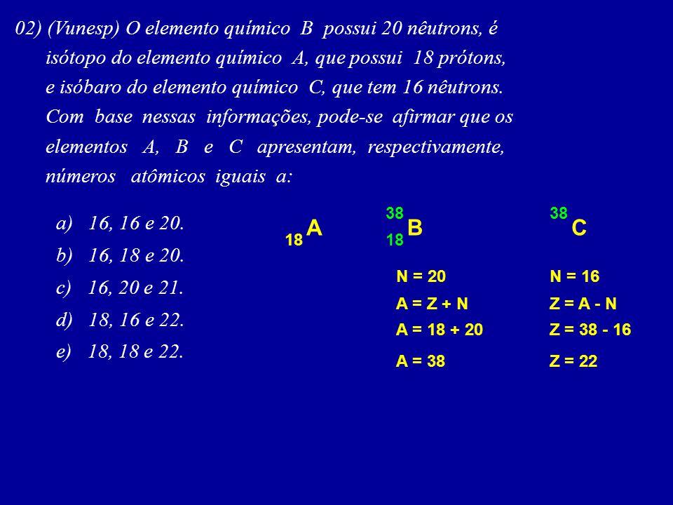 A B C 02) (Vunesp) O elemento químico B possui 20 nêutrons, é