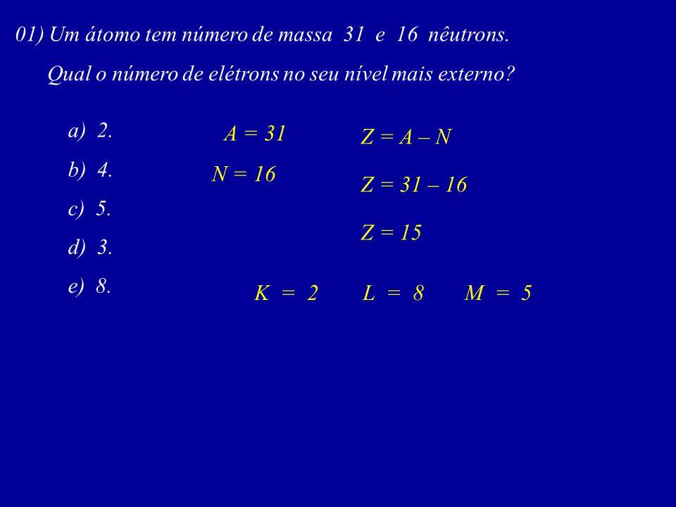 A = 31 Z = A – N N = 16 Z = 31 – 16 Z = 15 K = 2 L = 8 M = 5