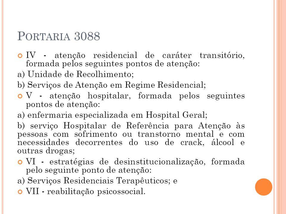 Portaria 3088 IV - atenção residencial de caráter transitório, formada pelos seguintes pontos de atenção:
