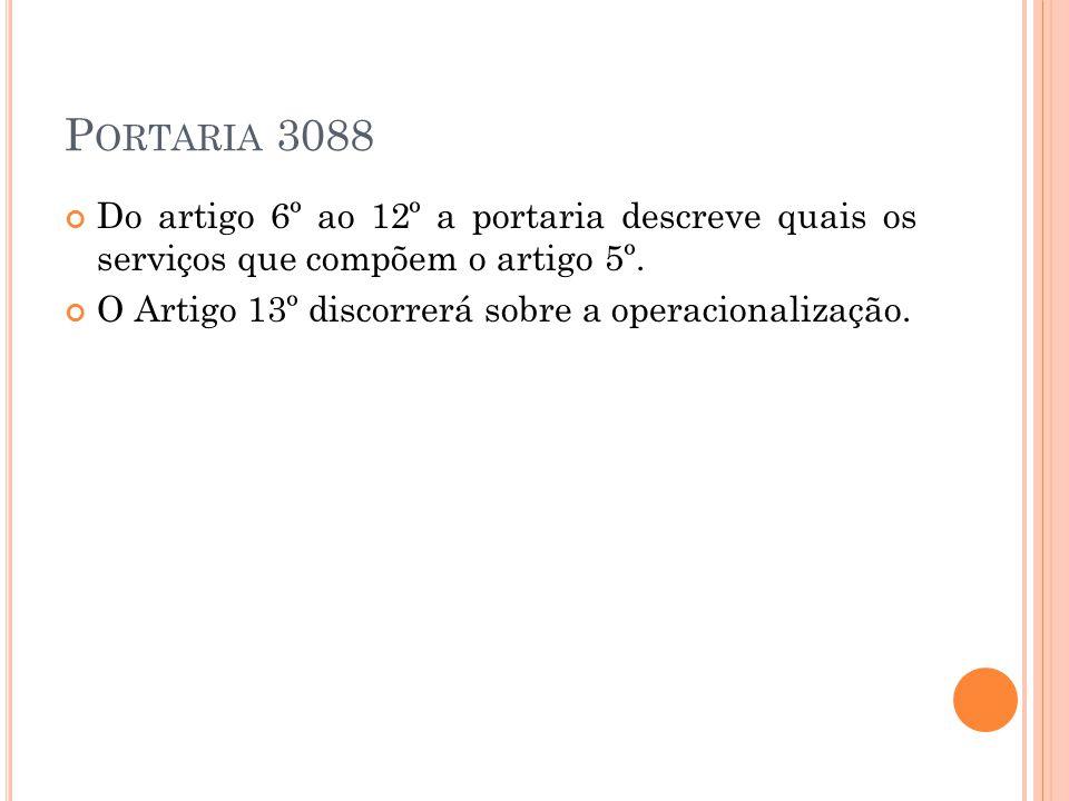 Portaria 3088 Do artigo 6º ao 12º a portaria descreve quais os serviços que compõem o artigo 5º.