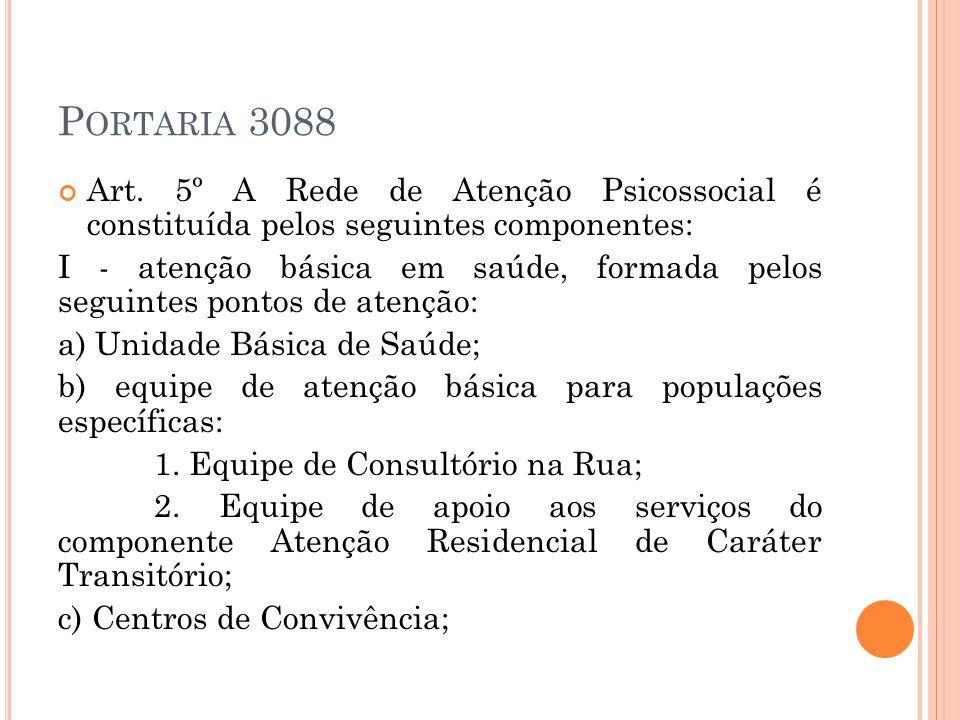 Portaria 3088 Art. 5º A Rede de Atenção Psicossocial é constituída pelos seguintes componentes: