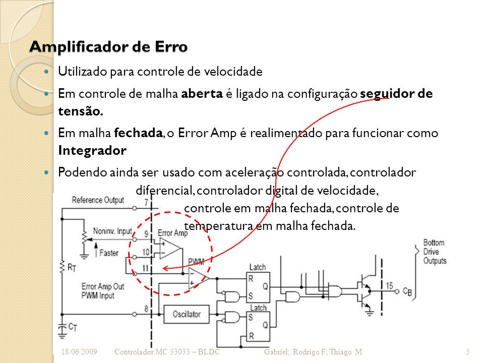 Amplificador de Erro Utilizado para controle de velocidade