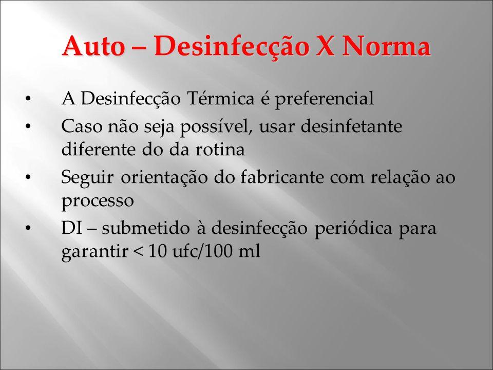 Auto – Desinfecção X Norma