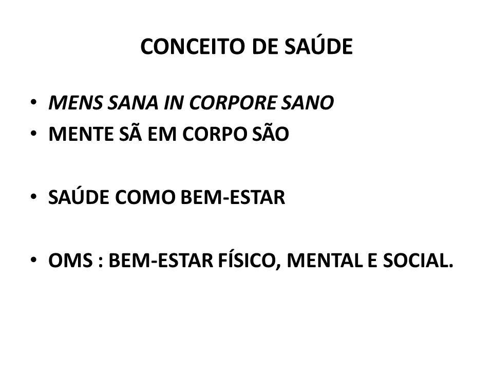 CONCEITO DE SAÚDE MENS SANA IN CORPORE SANO MENTE SÃ EM CORPO SÃO