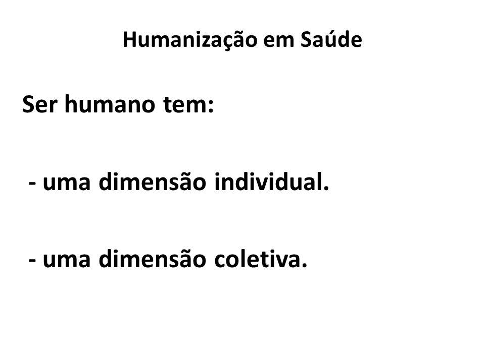 Ser humano tem: - uma dimensão individual. - uma dimensão coletiva.