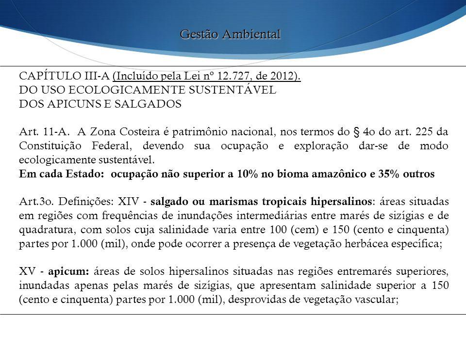 Gestão Ambiental CAPÍTULO III-A (Incluído pela Lei nº 12.727, de 2012). DO USO ECOLOGICAMENTE SUSTENTÁVEL.