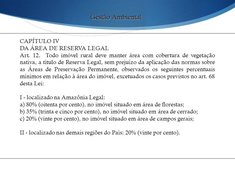 Gestão Ambiental CAPÍTULO IV DA ÁREA DE RESERVA LEGAL