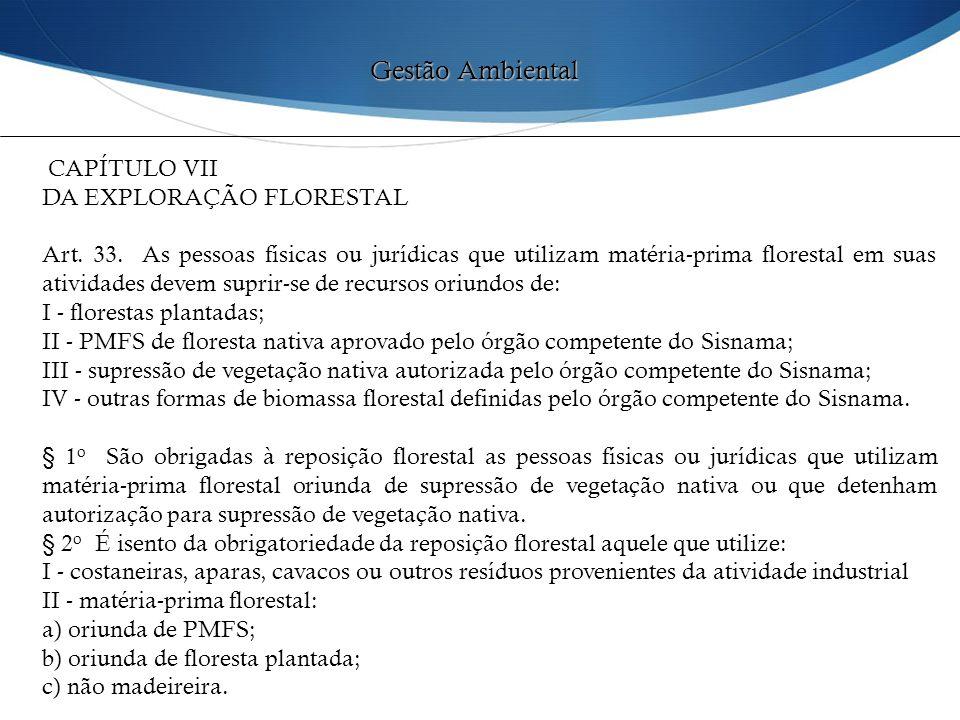 Gestão Ambiental CAPÍTULO VII DA EXPLORAÇÃO FLORESTAL
