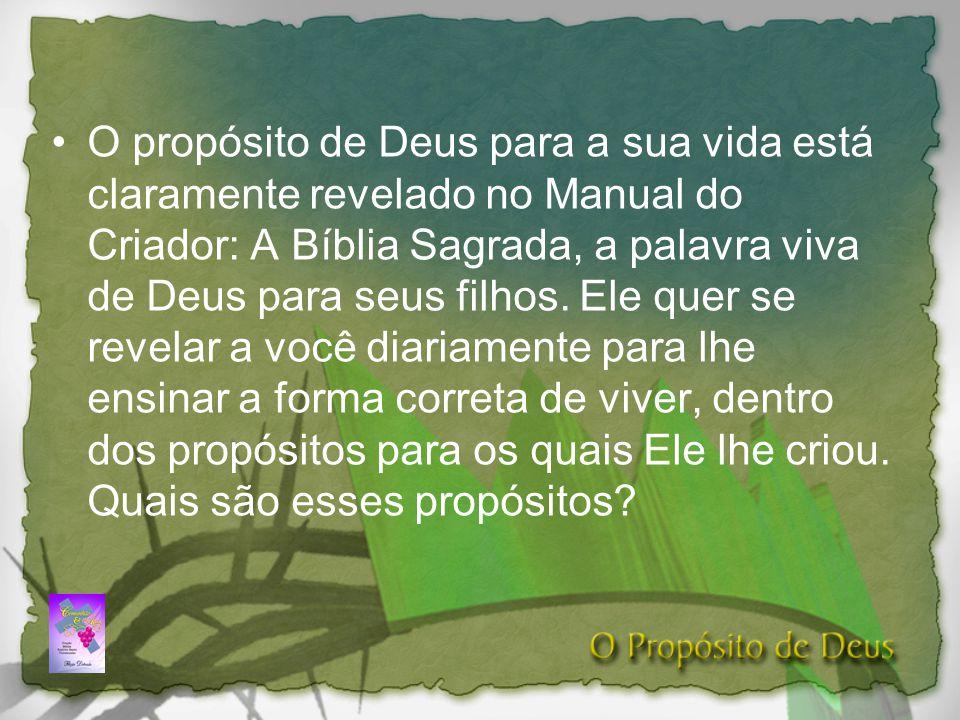 O propósito de Deus para a sua vida está claramente revelado no Manual do Criador: A Bíblia Sagrada, a palavra viva de Deus para seus filhos.