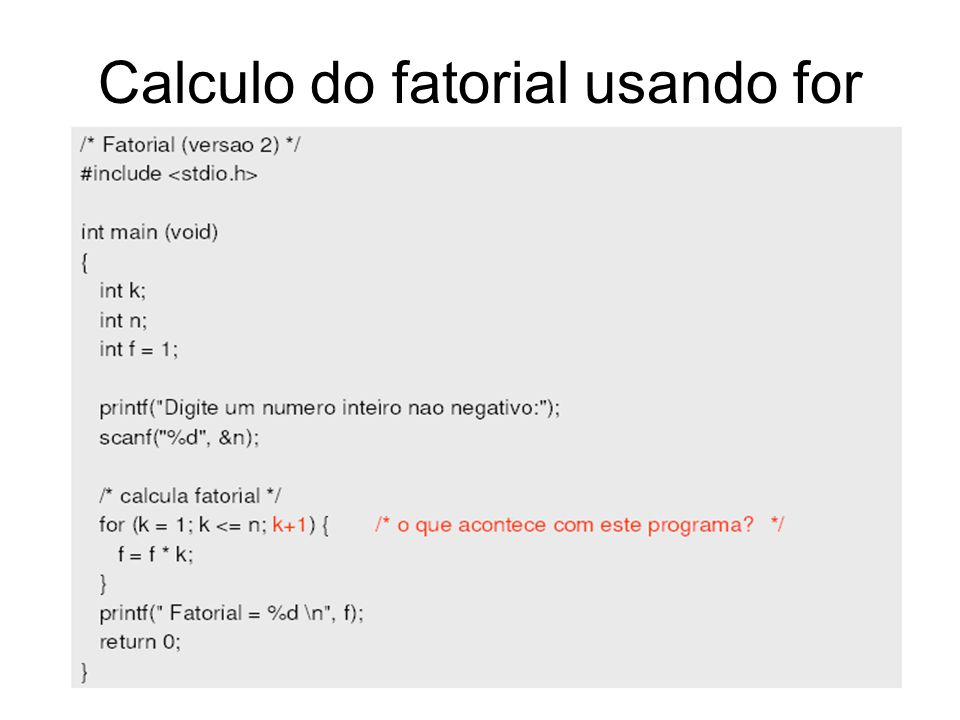 Calculo do fatorial usando for