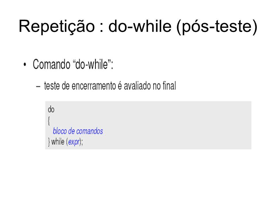 Repetição : do-while (pós-teste)