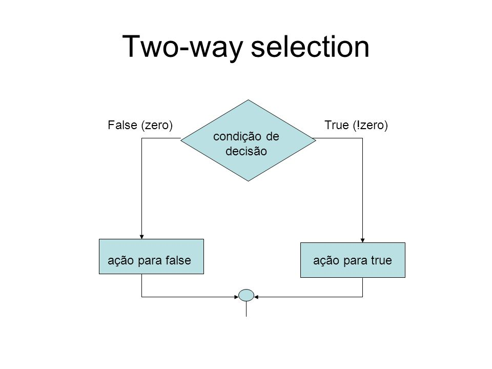 Two-way selection False (zero) True (!zero) condição de decisão