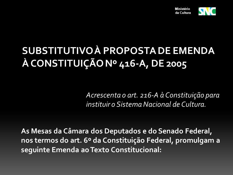 SUBSTITUTIVO À PROPOSTA DE EMENDA À CONSTITUIÇÃO Nº 416-A, DE 2005