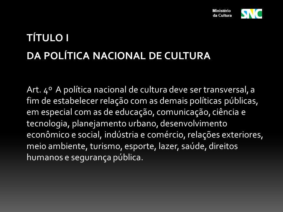 DA POLÍTICA NACIONAL DE CULTURA