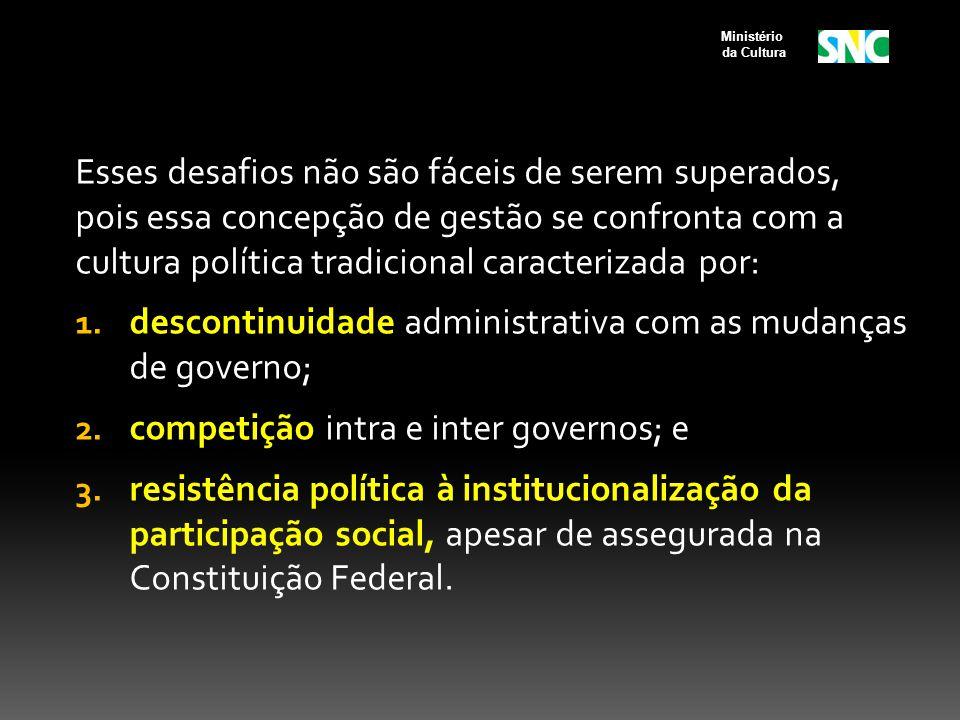 descontinuidade administrativa com as mudanças de governo;