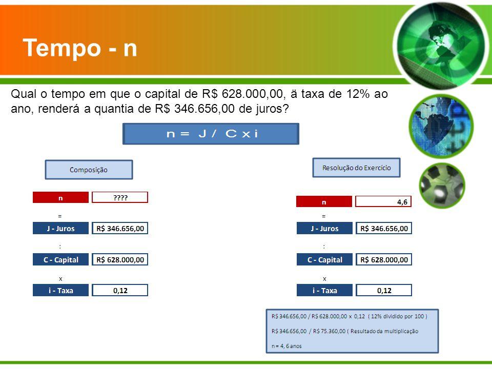 Tempo - n Qual o tempo em que o capital de R$ 628.000,00, ä taxa de 12% ao ano, renderá a quantia de R$ 346.656,00 de juros