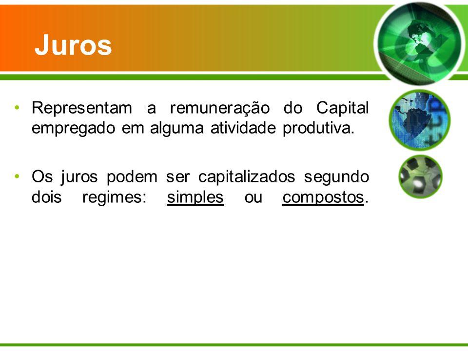 Juros Representam a remuneração do Capital empregado em alguma atividade produtiva.