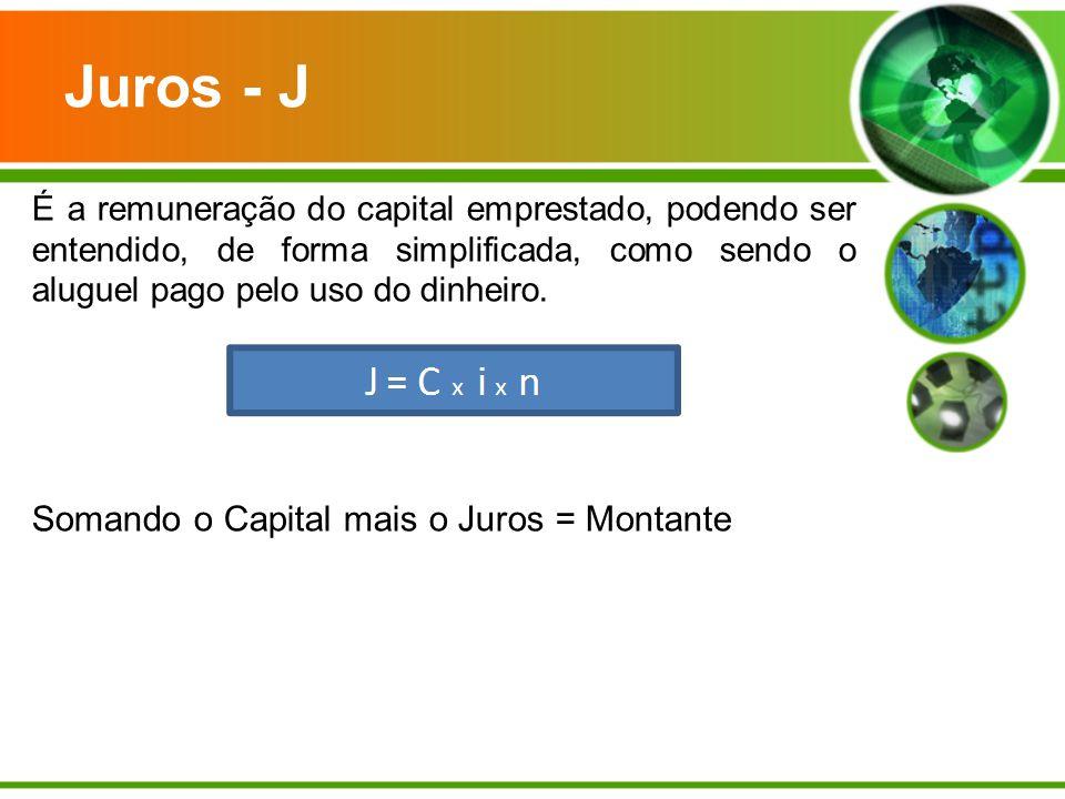 Juros - J Somando o Capital mais o Juros = Montante