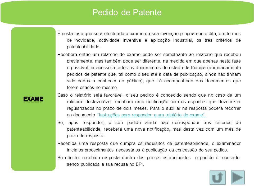 Pedido de Patente Exame