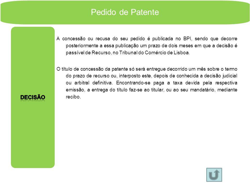 Pedido de Patente Decisão