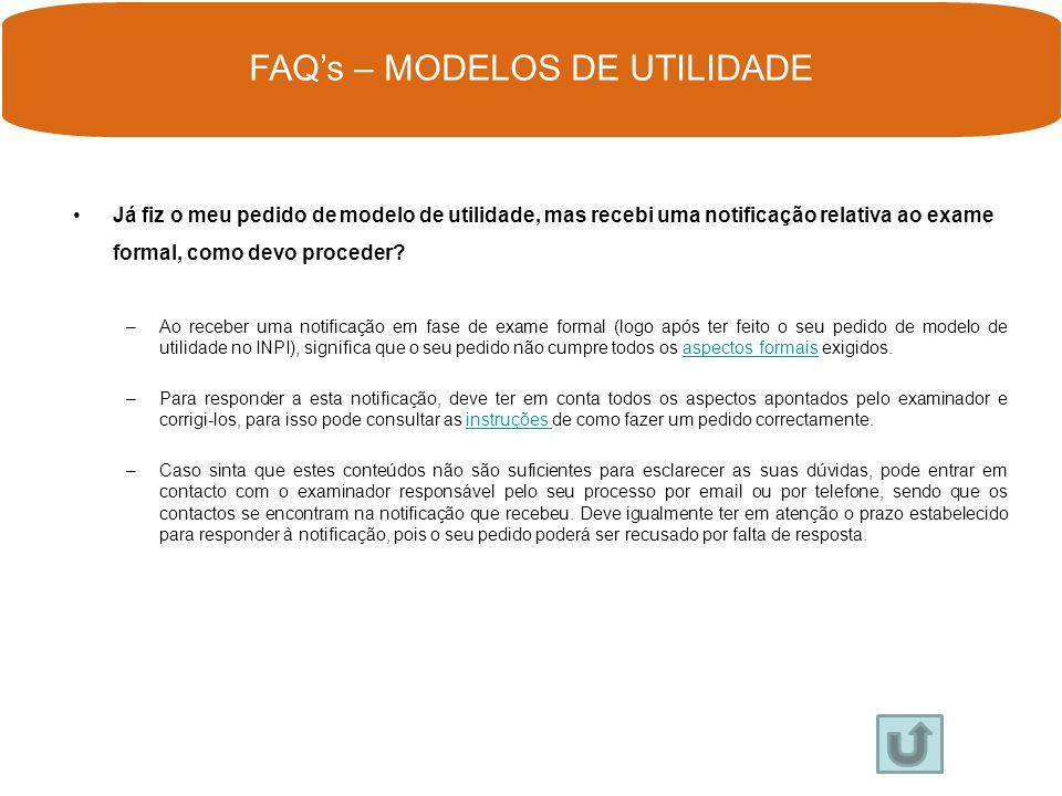 FAQ's – MODELOS DE UTILIDADE