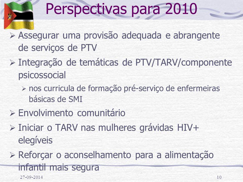 Perspectivas para 2010 Assegurar uma provisão adequada e abrangente de serviços de PTV. Integração de temáticas de PTV/TARV/componente psicossocial.