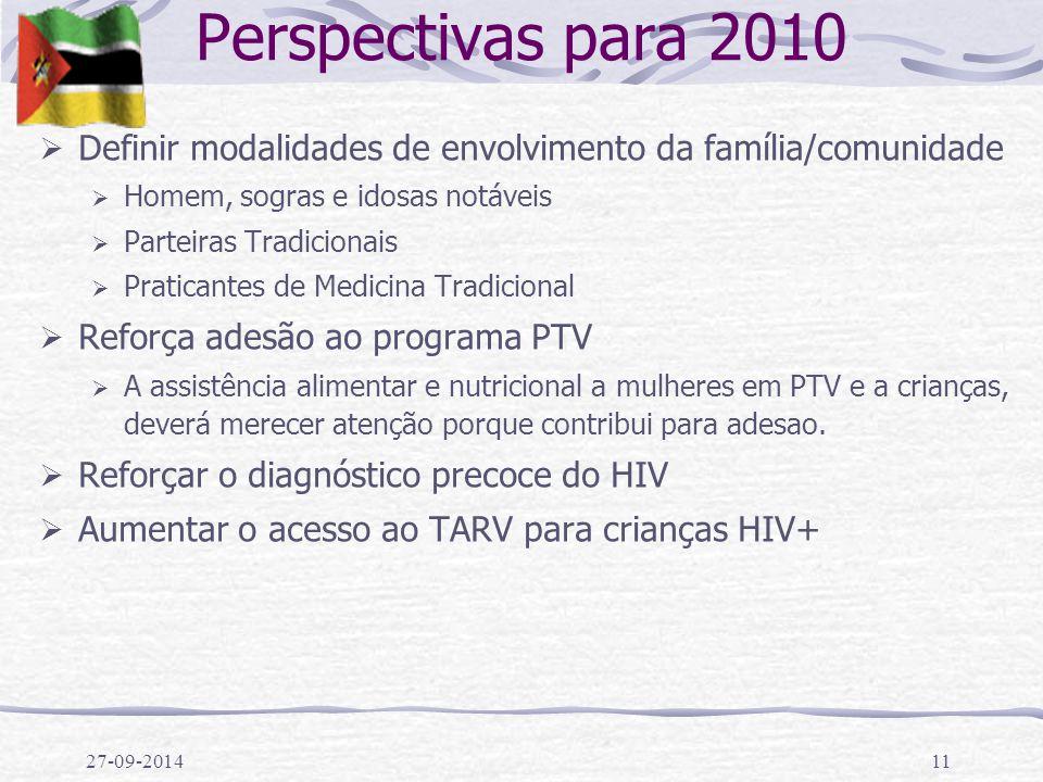 Perspectivas para 2010 Definir modalidades de envolvimento da família/comunidade. Homem, sogras e idosas notáveis.
