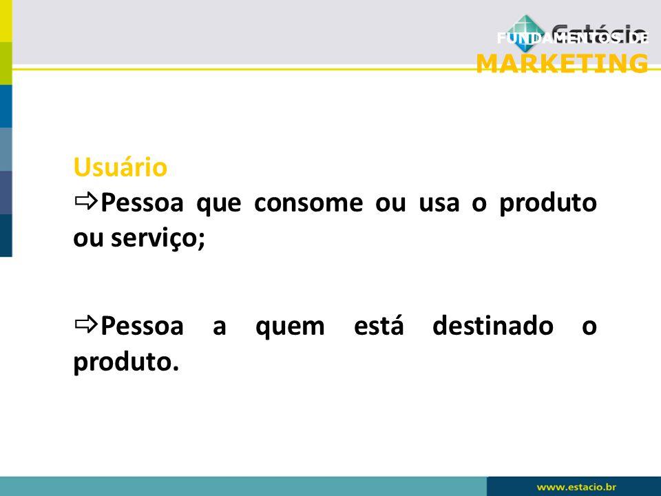 Pessoa que consome ou usa o produto ou serviço;