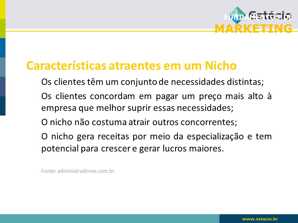Características atraentes em um Nicho