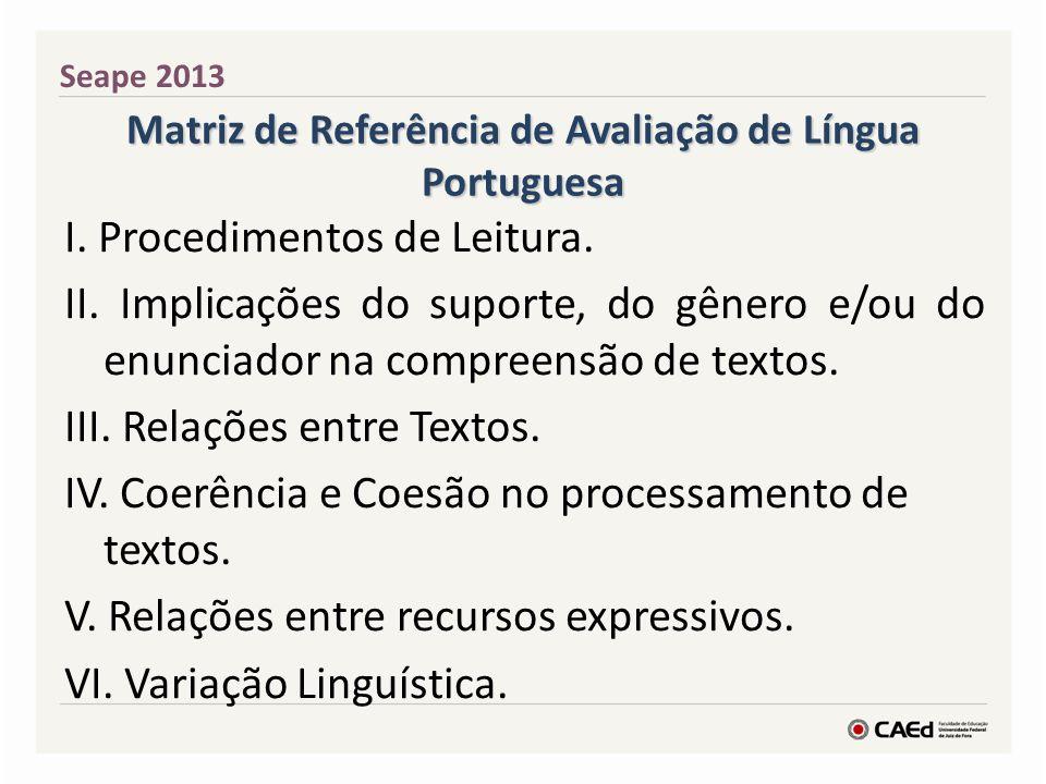 Matriz de Referência de Avaliação de Língua Portuguesa