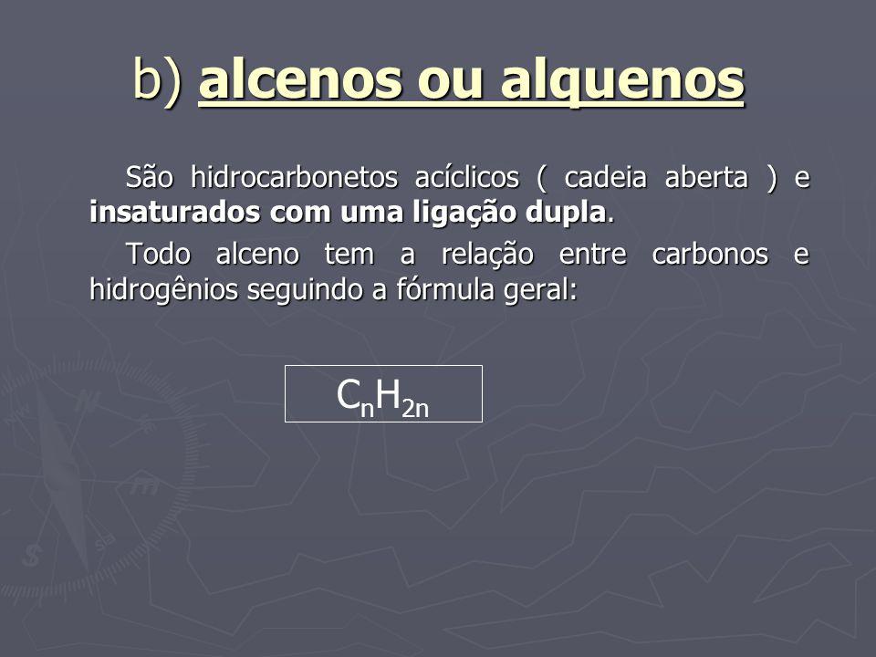 b) alcenos ou alquenos CnH2n