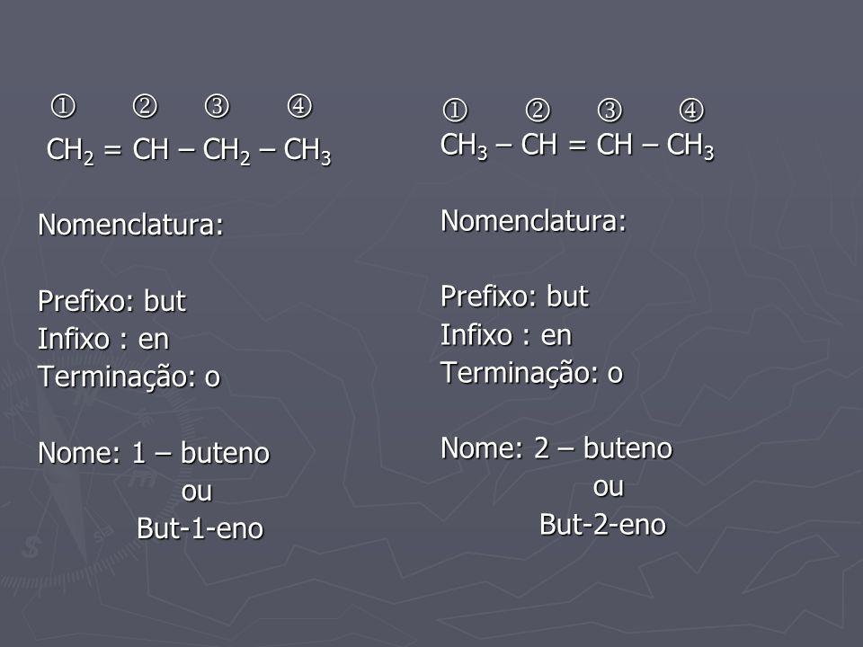         CH2 = CH – CH2 – CH3 CH3 – CH = CH – CH3 Nomenclatura: