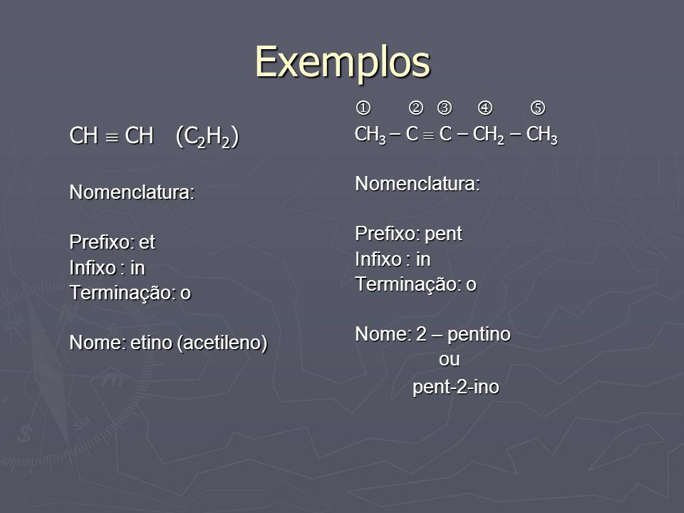 Exemplos CH  CH (C2H2)      CH3 – C  C – CH2 – CH3