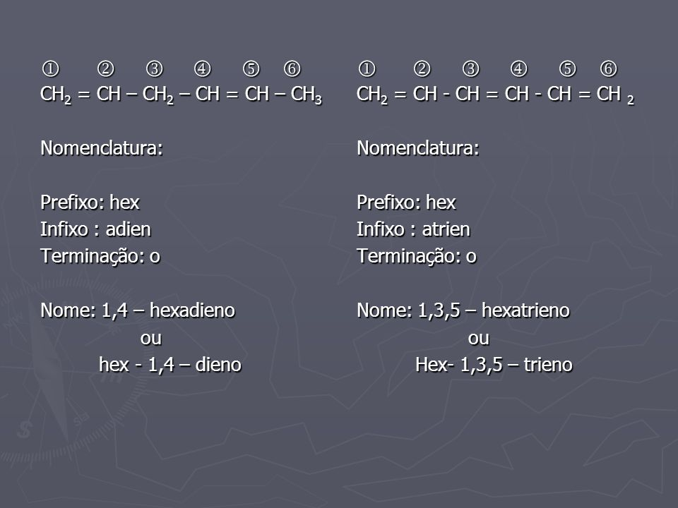             CH2 = CH – CH2 – CH = CH – CH3 Nomenclatura: