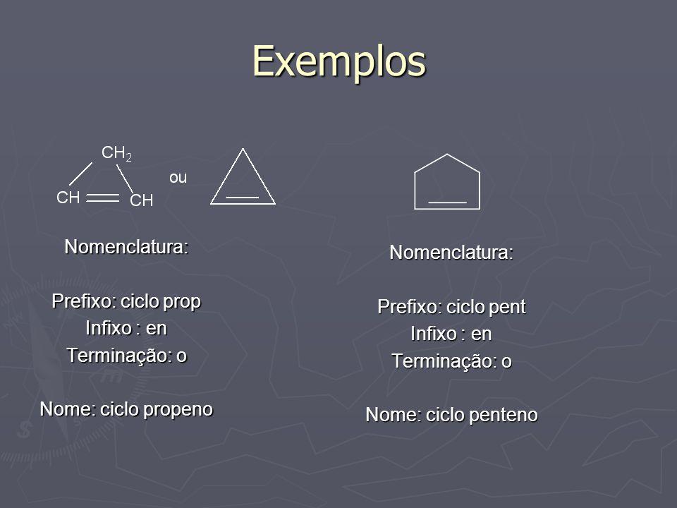 Exemplos Nomenclatura: Nomenclatura: Prefixo: ciclo prop