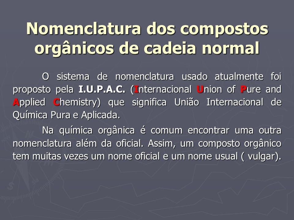 Nomenclatura dos compostos orgânicos de cadeia normal