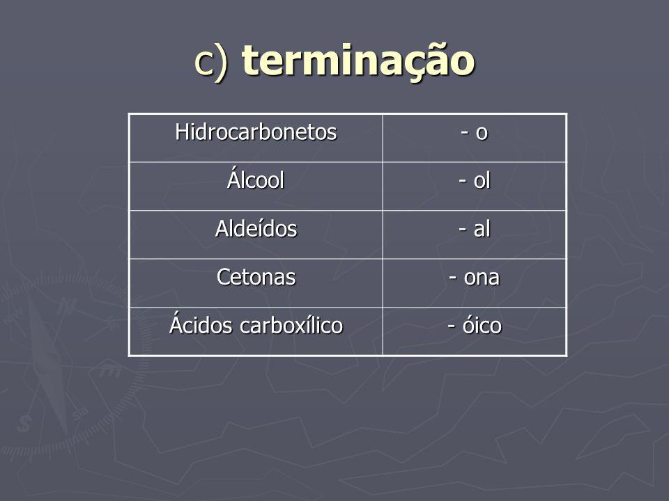 c) terminação Hidrocarbonetos - o Álcool - ol Aldeídos - al Cetonas