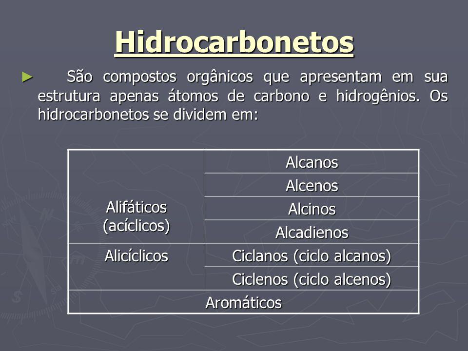 Hidrocarbonetos São compostos orgânicos que apresentam em sua estrutura apenas átomos de carbono e hidrogênios. Os hidrocarbonetos se dividem em: