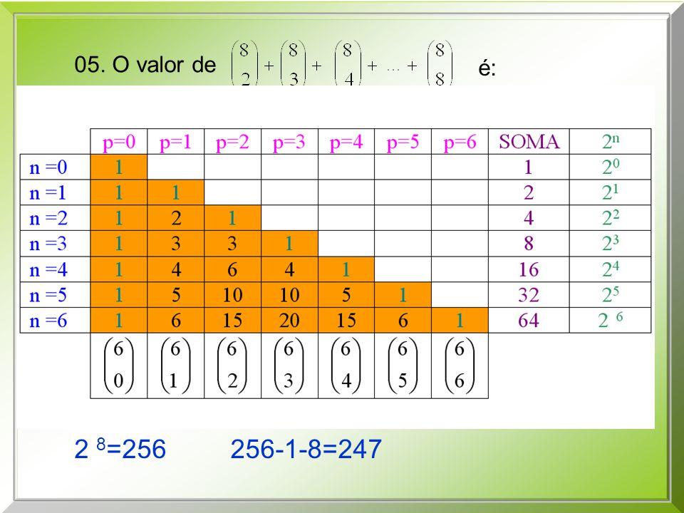 2 8=256 256-1-8=247 05. O valor de é: a) 128 b) 124 c) 120 d) 116