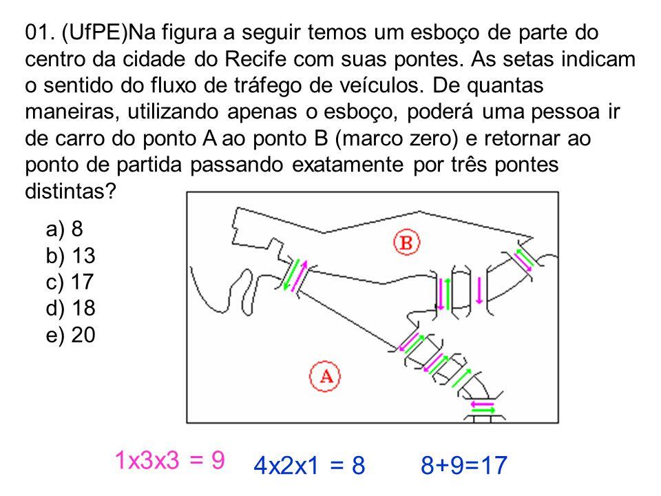 01. (UfPE)Na figura a seguir temos um esboço de parte do centro da cidade do Recife com suas pontes. As setas indicam o sentido do fluxo de tráfego de veículos. De quantas maneiras, utilizando apenas o esboço, poderá uma pessoa ir de carro do ponto A ao ponto B (marco zero) e retornar ao ponto de partida passando exatamente por três pontes distintas