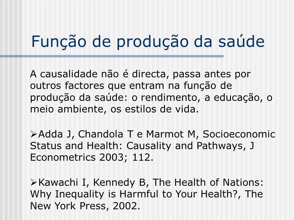 Função de produção da saúde