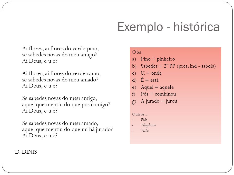 Exemplo - histórica