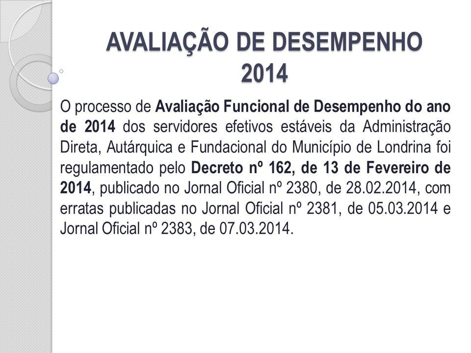 AVALIAÇÃO DE DESEMPENHO 2014