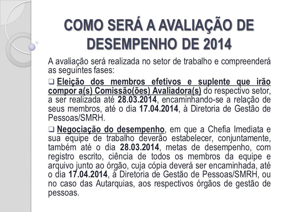 COMO SERÁ A AVALIAÇÃO DE DESEMPENHO DE 2014