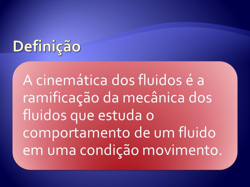 Definição A cinemática dos fluidos é a ramificação da mecânica dos fluidos que estuda o comportamento de um fluido em uma condição movimento.