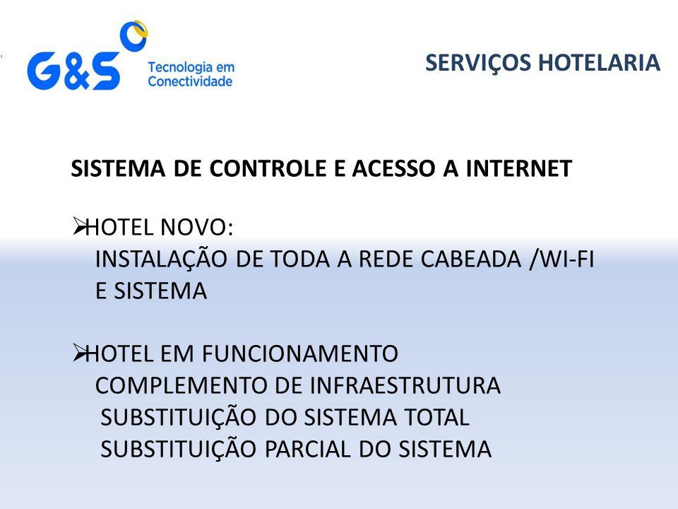 SERVIÇOS HOTELARIA SISTEMA DE CONTROLE E ACESSO A INTERNET. HOTEL NOVO: INSTALAÇÃO DE TODA A REDE CABEADA /WI-FI E SISTEMA.