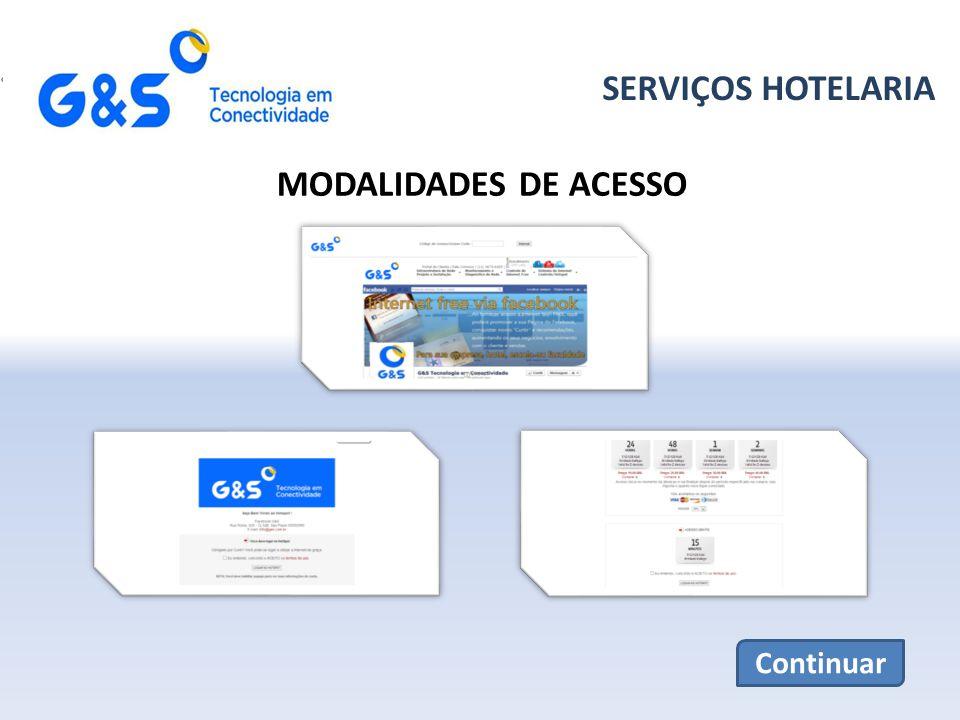 SERVIÇOS HOTELARIA MODALIDADES DE ACESSO Continuar