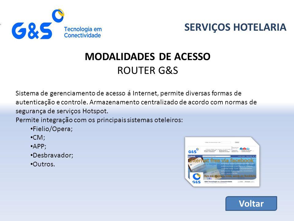 SERVIÇOS HOTELARIA MODALIDADES DE ACESSO ROUTER G&S Voltar