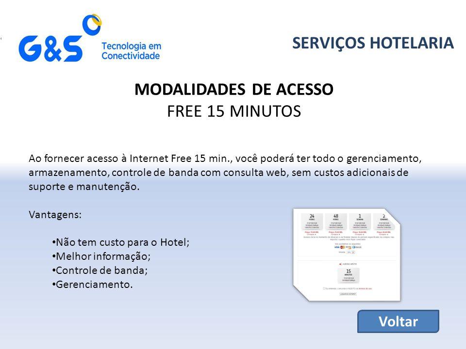 SERVIÇOS HOTELARIA MODALIDADES DE ACESSO FREE 15 MINUTOS Voltar