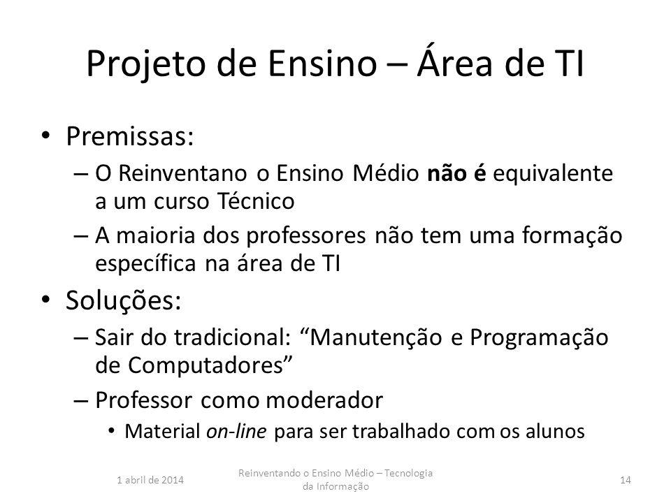 Projeto de Ensino – Área de TI